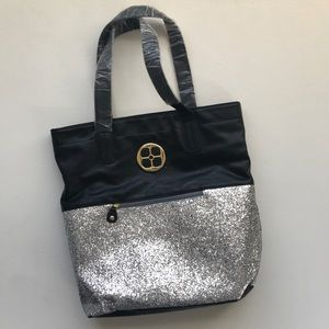 IMAN Global Chic Black Silver Bling Tote Bag New